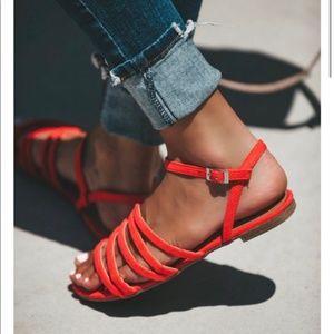 Bright Coral Strappy Sandals - Size 9